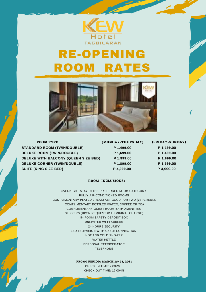 Re-opening Room Rates
